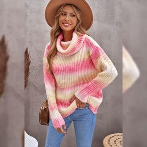 Cowl Neck Ombre Knit Sweater Coral Yellow